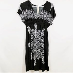 CRISTINA LOVE EMPIRE BLK/WHT PRINT DRESS - SZ S